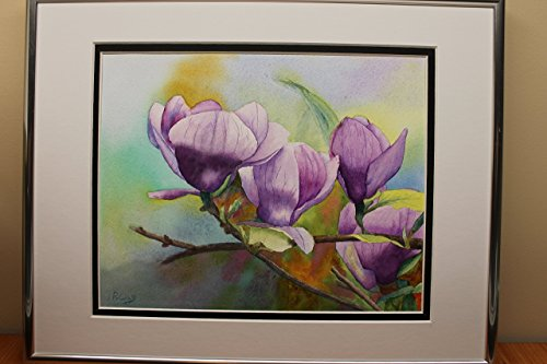 Original Watercolor Painting, water color, framed signed purple magnolia flower wall art decoration OOAK ()