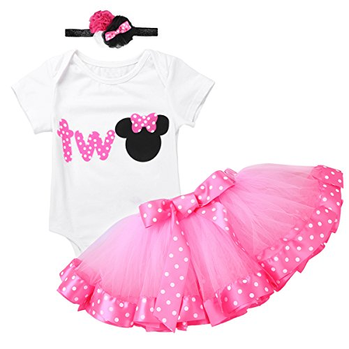 dPois Infant Toddlers Baby Girls 1st/2nd Birthday Party Cartoon 3 Pieces Outfit Romper Polka Dot Tutu Skirt with Headband Set WhiteΠnk Letter Two 12-18 Months