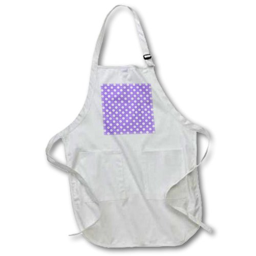 22 by 24-Inch 3dRose apr/_56694/_2 White Polka Dots on Purple Retro 50s Cute and Girly Dot Pattern Medium Length Apron with Pouch Pockets