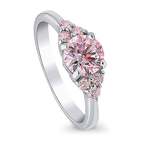 BERRICLE Rhodium Plated Sterling Silver Solitaire Promise Engagement Ring Made with Swarovski Zirconia Pink Round 1.18 CTW Size 6