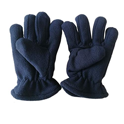 Kids Winter Gloves Easy-On Sherpa Lined Fleece Mittens for Winter Warm Gloves 2 Pair (5~12Y) (Dark Blue)