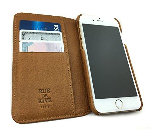 RUE DE RIVE Finest Italian Leather Phone Wallet case iPhone 6/6S, 7 & 8 - Color: Firenze Tan- The Winter Sale! - Firenze Card Case