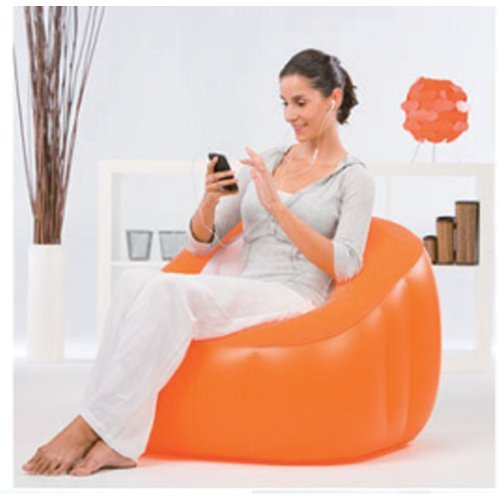 Bestway Comfort Quest Comfi Cube Inflatable Gaming Chair Sofa Seat Lounger Camping Relaxing (ORANGES) WILTON BRADELY 75046