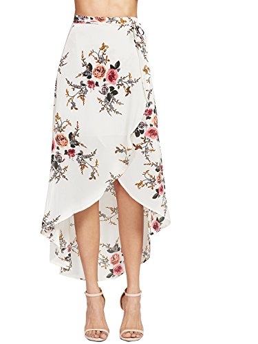 WDIRARA Women's High Waist Asymmetrical Beige Floral Print Dip Hem Wrap Skirt Multicolor M