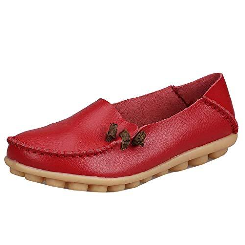 7 Qiusa En Taille Plats À Rouge coloré Uk Mocassins Lacets Pour Femmes Cuir rISPrw