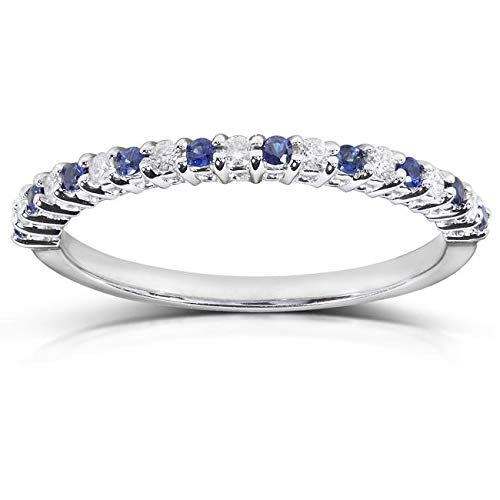 Round Diamond & Blue Sapphire Band 1/4 carat (ctw) in 14kt White Gold, Size 9, White Gold ()