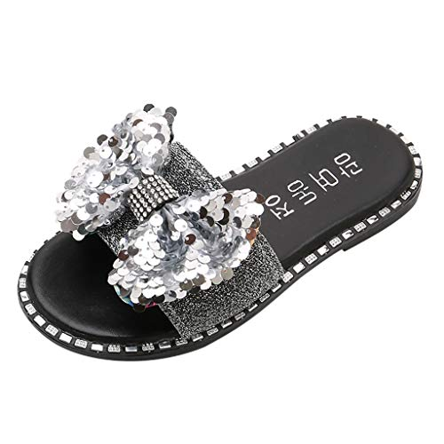 (Tantisy ♣↭♣ Baby Girls Fashion Sequins Bow Round Toe Flat Heel Sandals Slipper Beach Shoes Silver)