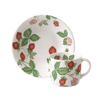 Wedgwood Wild Strawberry 2-Piece Serveware Set, Includes Small Mug and Bowl, White