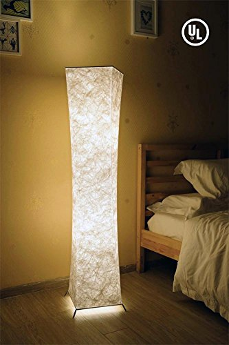 LED Floor Lamp with Fabric Shades, BI-LIGHT Contemporary Standing Modern Twisted Design Soft Light Floor Lamps for Living Room Bedroom Home Office, 52 Inch Tall, with 2 LED Bulbs