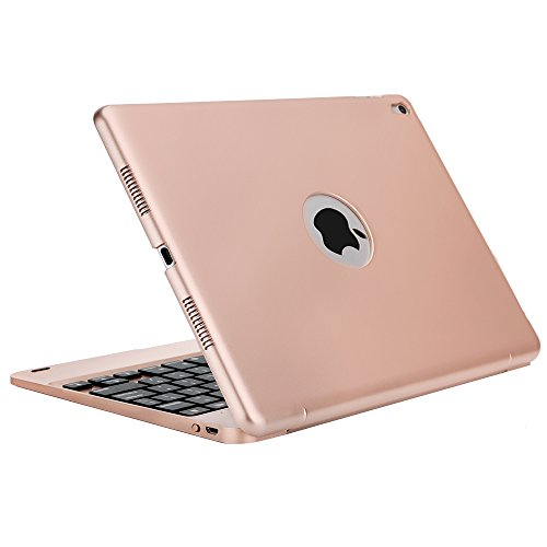 iPad Pro 9.7 Keyboard Case, iEGrow F19 Wireless Bluetooth Air 2 Keyboard Cover with Auto Sleep / Wake for iPad Air 2/Pro 9.7 Inches(Rose Gold)