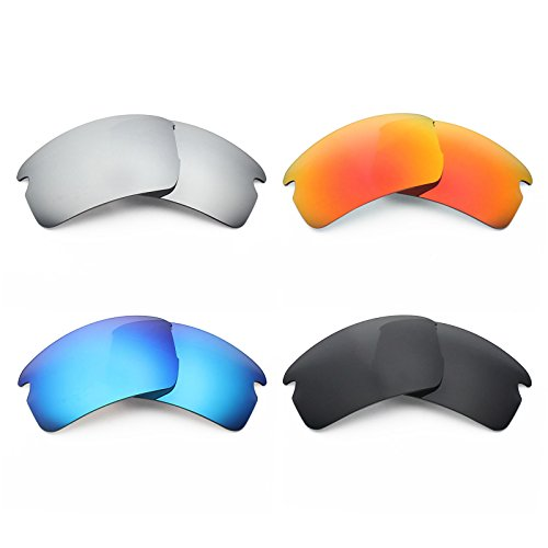 Mryok 4 Pair Polarized Replacement Lenses for Oakley Flak 2.0 Asian Fit Sunglass - Stealth Black/Fire Red/Ice Blue/Silver - Oakley Asian Flak 2.0 Fit Lenses