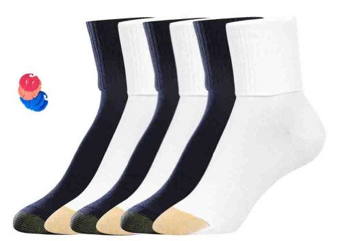 Pack Turn Cuff Socks/12 Free Sock Clips Included ($10 Value) (6 White / 6 Black) ()