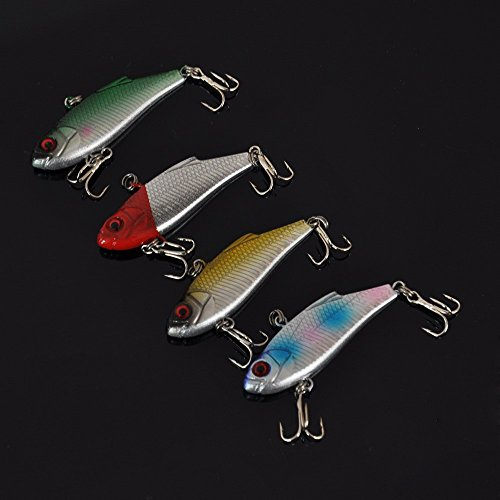 docooler 4pcs 4.5g 5cm VIB Vibration Minow Fishing Lure Hard Bait with 2 Treble Hooks Fishing Tackle