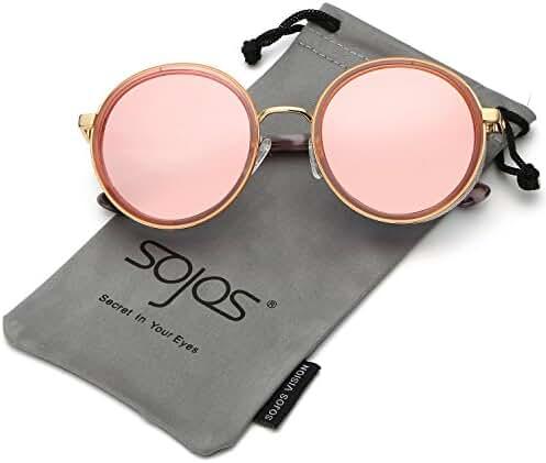 SojoS Retro Gothic Steampunk Round Mirrored Blingbling Classsic Women Sunglasses SJ2022