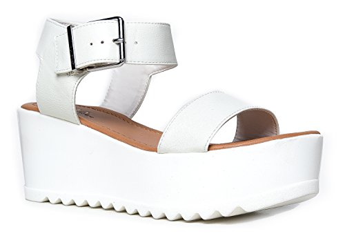 Bones Platform Sneaker (Women's Platform Buckle Sandal - Open Peep Toe Fashion Chunky Ankle Strap Shoe - Surf by J Adams,Bone,7 B(M) US)
