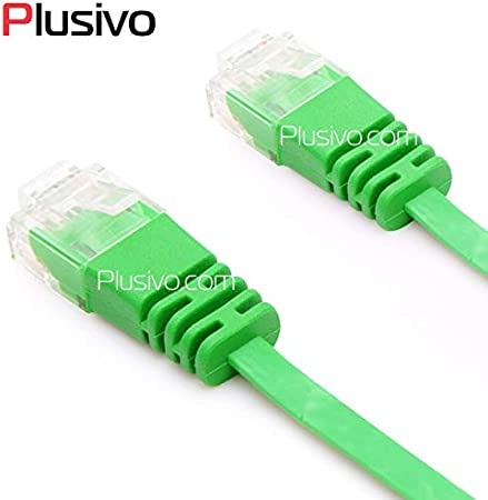 Computer Cables High SpeedCAT6 Flat Ethernet Cable RJ45 LAN Cable Networking Ethernet Patch Cord for Computer Router Laptop Cable Length: 2m, Color: Green