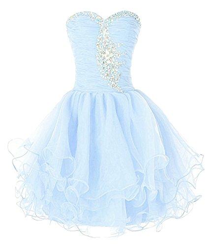 Women's Bess Gown Ball Short Bridal Prom Beaded Dress Organza Sky Blue Homecoming pAqqgHBn
