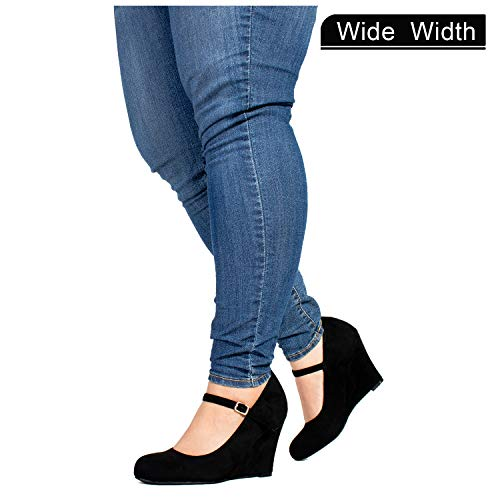 Women's Wide Fit Mary Jane Extra Cushion Wedge Pumps (True Wide Width) Black (7.5) ()
