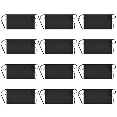 Syntus 12 Pack 3 Pockets Waterdrop Resistant Waitress Waist Apron, 11.5-inch Black