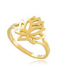 Dainty 10k Yellow Gold High Polish Open Lotus Flower Ring (Size 6.75)