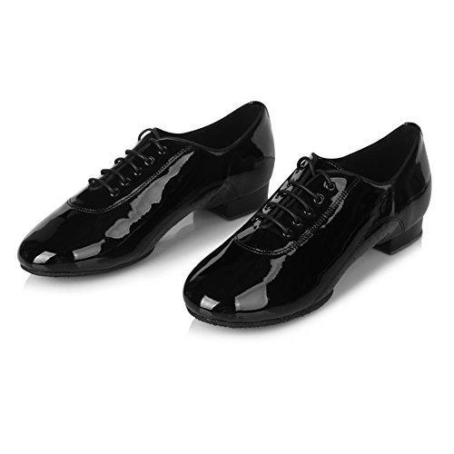 Roymall Mens Scarpe Da Ballo Latino Professionale Ballroom Jazz Tango Waltz Performance Shoes Bright Black-3