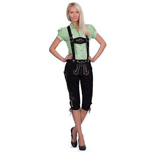 Gaudi-Leathers Damen Trachten Lederhose Lova Kniebund mit Trägern in Schwarz (Schwarz 050), W39 (Herstellergröße: 44)