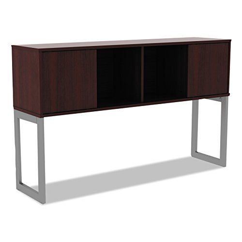 Alera ALELSHH60MY Open Office Desk Series Hutch, 60w x 15d x 36 1/2h, Mahogany - Contemporary Mahogany Hutch