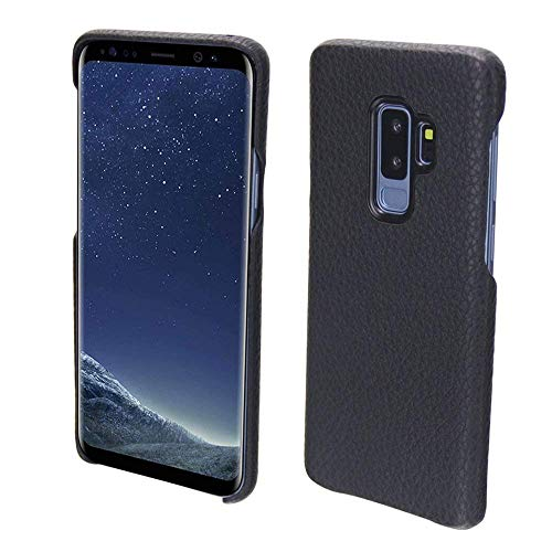 02 Leather Carrying Case - Galaxy S9 Plus Case, Cassenger Slim Fit Premium Genuine Leather Case Protective Snap On Hard Back Cover for Samsung Galaxy S9 Plus(2018 Release)- 02Black