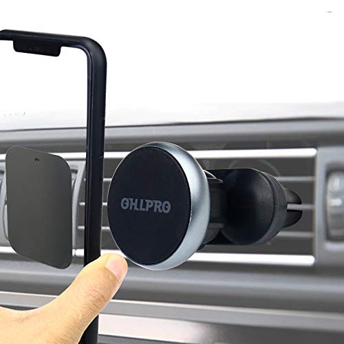 Magnetic Phone Holder Car Air Vent Mount,OHLPRO Double Clamping Design Magnet Fast Installation and Unloading Metal Aluminum Frame Compatible with All Smartphones & Mini Tablets (Black)
