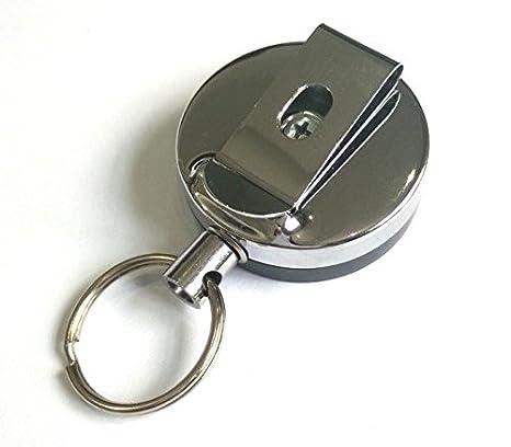 Whobabe - Llavero retráctil metálico antirrobo con clip para ...