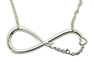 """One Direction Infinite Directioner Pendant w/18"""" Link Chain Necklace XC253 Silver (b-266)"""