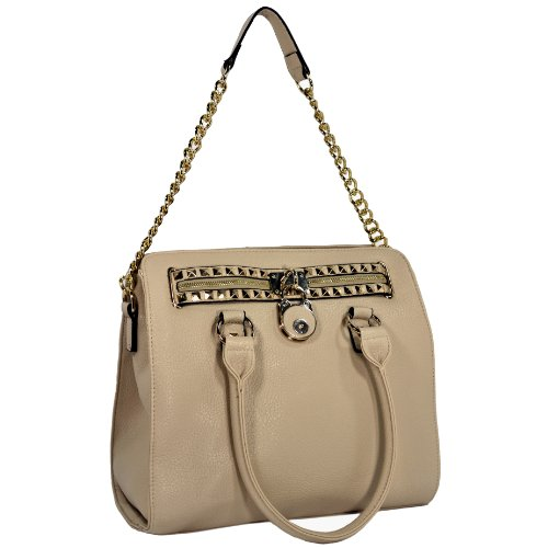 HALEY Beige Classic Gold Studded Structured Satchel Purse Style Tote Handbag