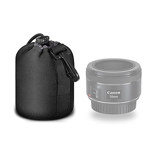 Selens Black Protective Drawstring Soft Neoprene DSLR Camera Lens Pouch Bag for Sony Canon Nikon Pentax Olympus Panasonic, Small Size
