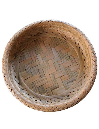 (Weaving Display Basket Handmade Bamboo Natural Fruit Storage Dining Room Snack Container Box)