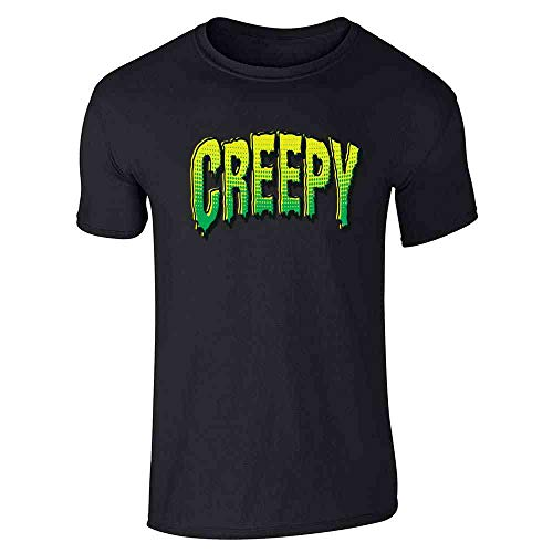 Pop Threads Creepy Retro Comic Text Halloween Costume Horror Black L Short Sleeve -