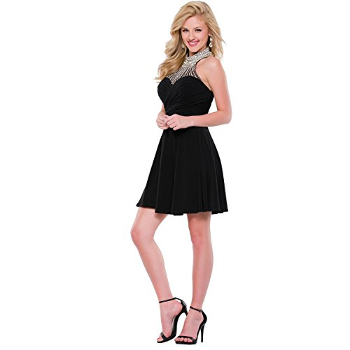 (JVN by Jovani Womens Embellished Sleeveless Semi-Formal Dress Black 2)