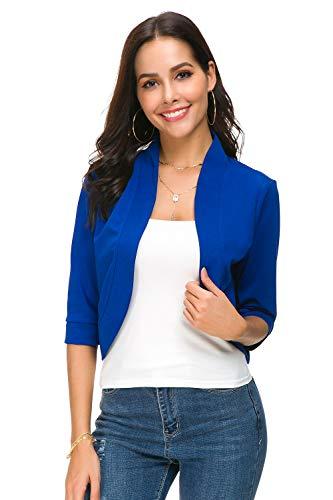 - BBX Lephsnt Womens Bolero Open Front Cardigan 3/4 Sleeve Solid Versatile Shrug Crop Tops