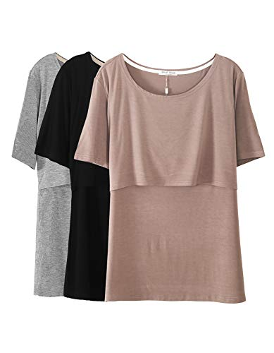 - Smallshow 3 Pcs Maternity Nursing T-Shirt Modal Short Sleeve Nursing Tops Brown-Black-Grey,Small