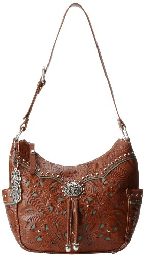 American West Lady Lace Zip Top Everyday Shoulder Bag,Mocha Tan/Turquoise,One Size