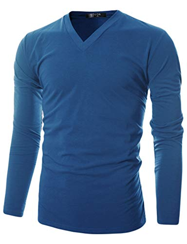 - GIVON Mens Slim Fit Soft Cotton Long Sleeve Lightweight Thermal V-Neck T-Shirt/DCP043-BLUE-M