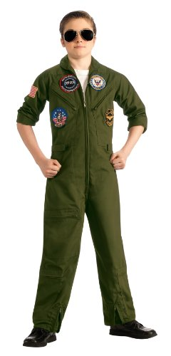 Boys Halloween Costume Top Gun Navy Flight Suit Costume Dress-up (Large Image)