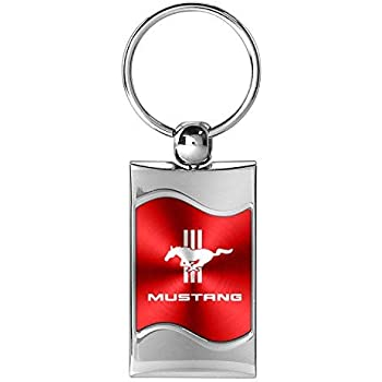 INC Au-Tomotive Gold DS-KC3075.MUSTB.RED-1 Rectangular Wave Key Fob for Ford Mustang Tri-Bar Red