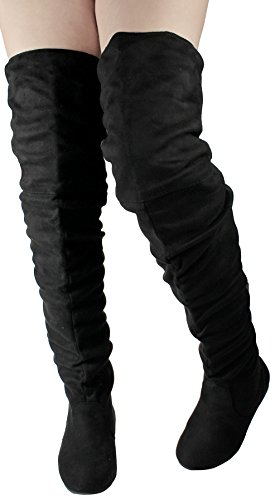 Scarpe Jjf Donna V-hi Moda Slouchy Punta Rotonda In Camoscio Con Finto Camoscio Oblique Stivali Sopra Il Ginocchio Flat Black_m-1