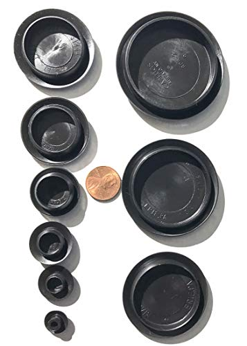9 Piece Flush Mount Black Hole Plug Assortment for Auto Body and Sheet Metal (Flush Mount Grommet)