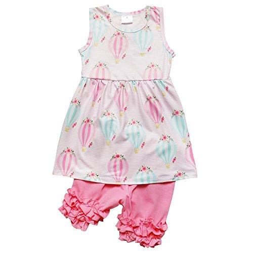 So Sydney Girls Or Toddler Deluxe Novelty Ruffle Summer Boutique Shorts Outfit (L (5), Hot Air (Boutique Dress Set)