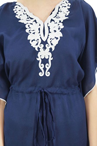 Bimba Demoiselle Blue Brodé Drawstring Navy Coverup Femmes D'honneur Kaftan Cou kXTwPilOZu