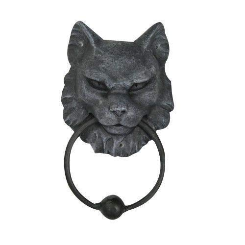 Ball Gargoyle (Figurine Horror Decoration Cat Gargoyle Door Knocker Ball with Metal Ring Statue)