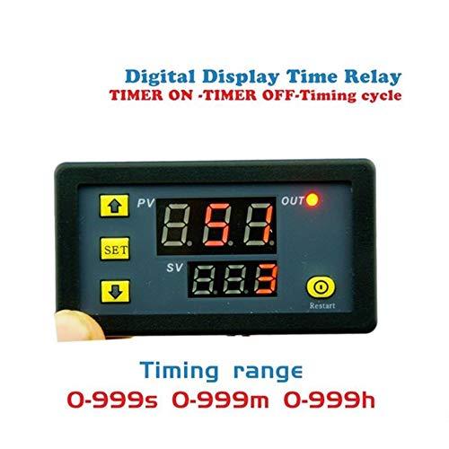 Negro 12V 110-220V M/ódulo de rel/é de retardo de temporizaci/ón Ciclo Temporizador Led digital Pantalla dual 0-999 minutos Interruptor de retardo de tiempo de rel/é de temporizaci/ón