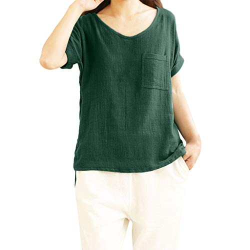 Aniywn Women Loose Cotton Linen Pocket Short Sleeve Pullover Tee Ladies Plus Size Tunic Henley Tops Green