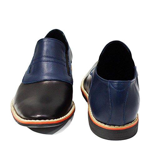 PeppeShoes Modello Lecco - Handmade Italiennes Cuir Pour des Hommes Bleu Marine Mocassins et Glissades Flâneurs - Cuir de Vachette Cuir Souple - Glisser Sur